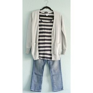 Cotton Cardigan + Striped Tank + Cropped Denim