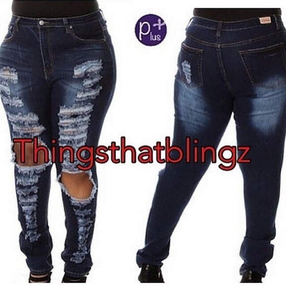 42% off Denim - Distressed Denim Jeans Plus Size 2-3XL from ...