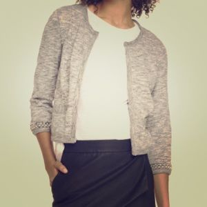 Gray cropped bead embellished Jacket