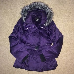 a.n.a Jackets & Blazers - ANA Purple Belted/Hooded Puffer Coat Sz Small