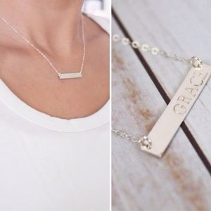LucyMint Jewelry - Silver Stamped Bar Necklace 15""