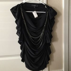 Robert Rodriguez Black Ruffle Chain Crystal Top