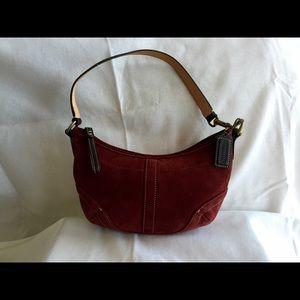 Coach Burgundy wine suede & leather evening purse.