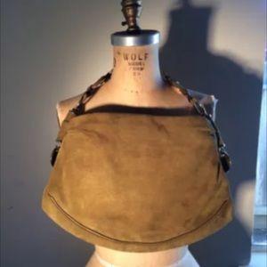 YSL YVES SAINT LAURENT suede rive gauche handbag