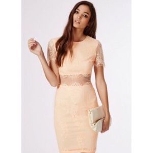 Missguided Nude Blush Lace Dress