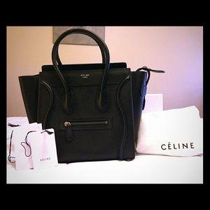 celine micro luggage tote black