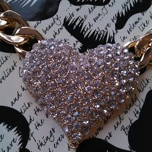 Gold and bling heart necklace
