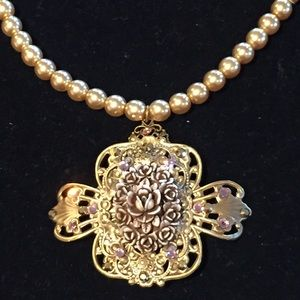 Vintage brass, pearl & floral necklace w/ crystals
