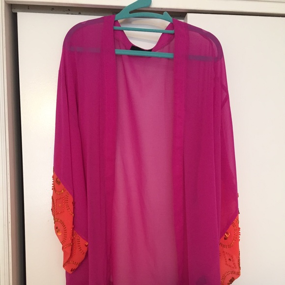 86% off Isabel Lu Sweaters - Hot pink kimono cardigan from Erin's ...