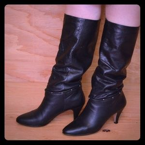 Vintage 80's Slouch Boots Black Leather & Studs 8