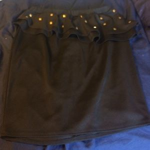 Gold studded black peplum skirt
