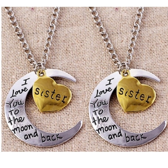 6f0e509942a 2pk-I Love You To The Moon   Back Sister Necklaces