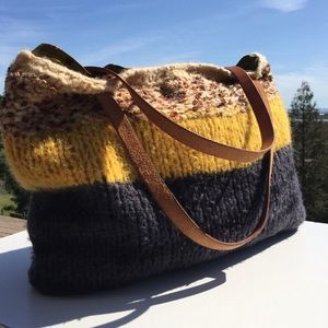 Handbags - Brown Yellow Gray Sweater Bag with Leather Straps