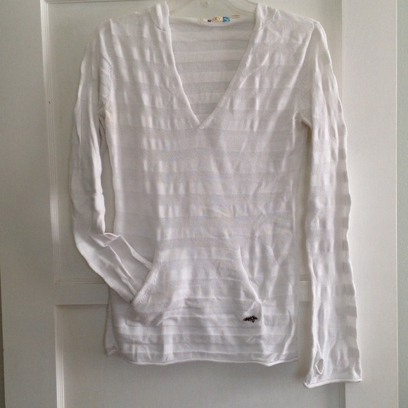 88% off Roxy Sweaters - Roxy white striped lightweight hooded ...