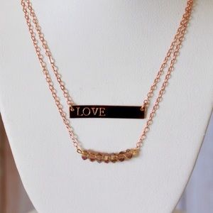 "LucyMint Jewelry - 16"" Rose Gold Bar Necklace"