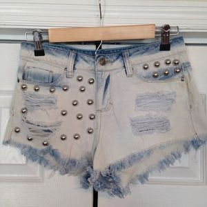 Bleached & Studded High Waisted Distressed Shorts