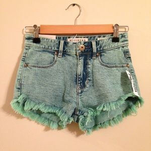 Turquoise High Waisted Distressed Shorts