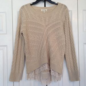 Cream Knit Sweater With Ivory Lace Trim