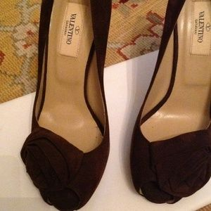Valentino Shoes - Valentino Brown Suede Heels New with Bow
