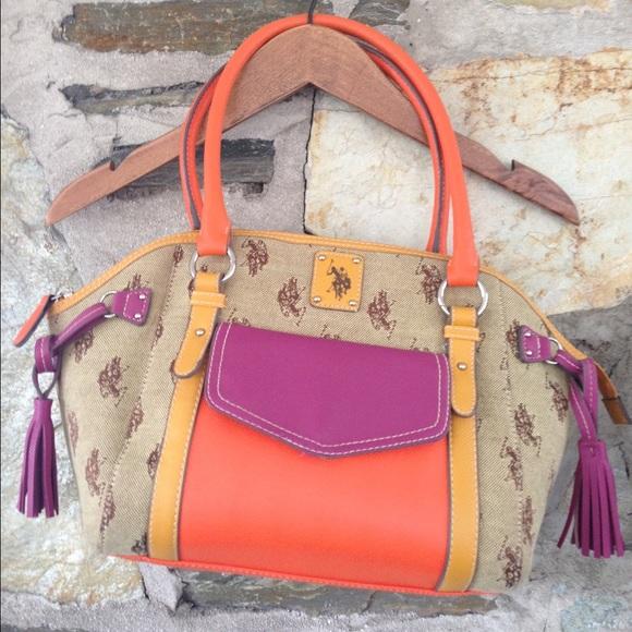 Color blocked Polo Ralph Lauren Tassel handbag