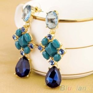 Shades of Ocean Blue Crystal Drop Dangle Earrings
