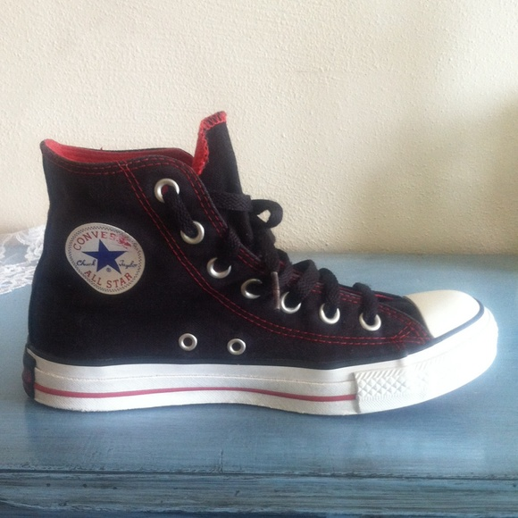 08bb4a1e0d2 Converse Shoes - Black high top converse all star red stitching