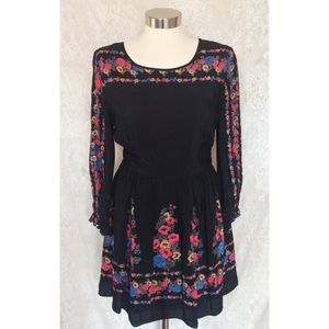 Free People Black Floral Silky Dress