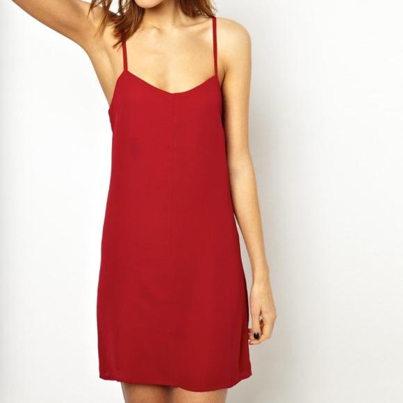 a39266f566846 ASOS Dresses & Skirts - ASOS Dark Red Cami Brandy Meville Style Slip Dress