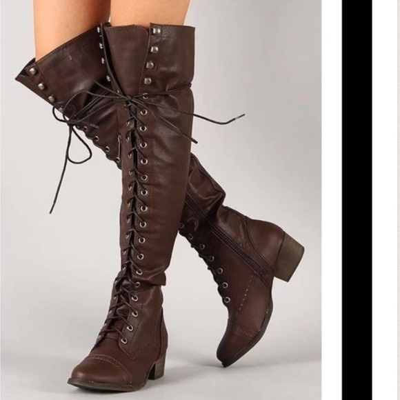 44% off Breckelles Boots - Thigh high brown military lace up ...