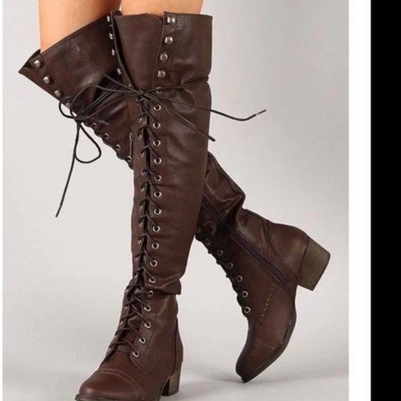 60% off Breckelles Shoes - Thigh high lace up military style ...