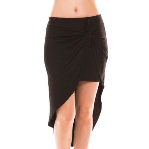 """Twist"" Black Twist Front Skirt"