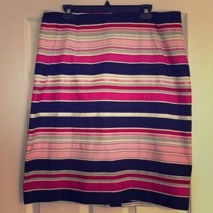 Talbots Dresses & Skirts - Pink & Black Stripe Pencil Skirt