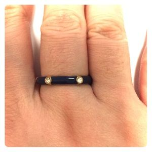 JCREW size 8 navy blue & gold plated ring