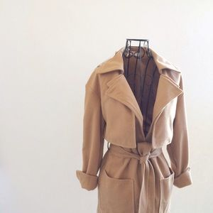 Soft Camel Coat with Tie Waist