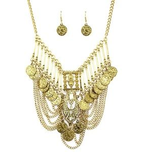 NECKLACE AND EARRING SET BOHEMIAN STYLE BIB