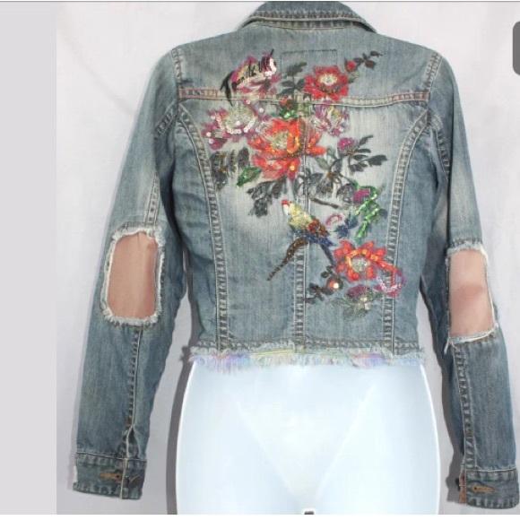 Rebecca Taylor La Vie Embroidered Denim Jacket in Marais Wash