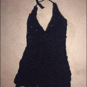 ann ferriday Tops - Black sequined halter top