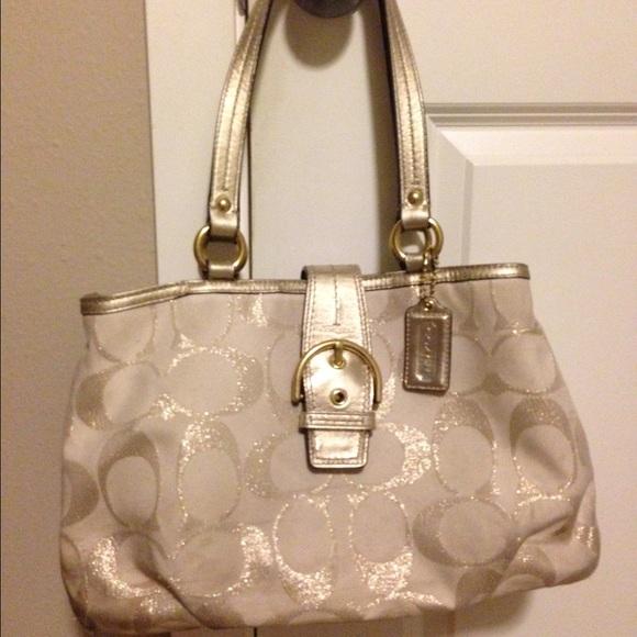 a17fe9cc219a Coach Handbags - Gold cream coach purse
