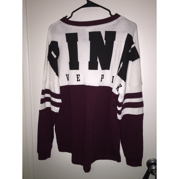 PINK Victoria's Secret - Burgundy and white PINK crew from ...