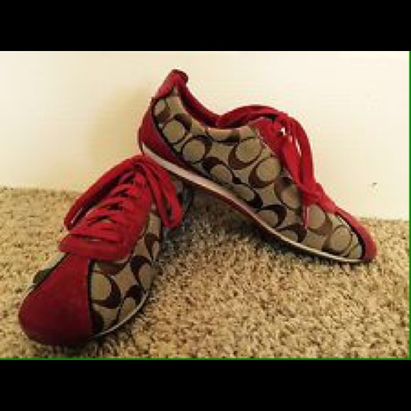 Red & Brown Coach Sneakers