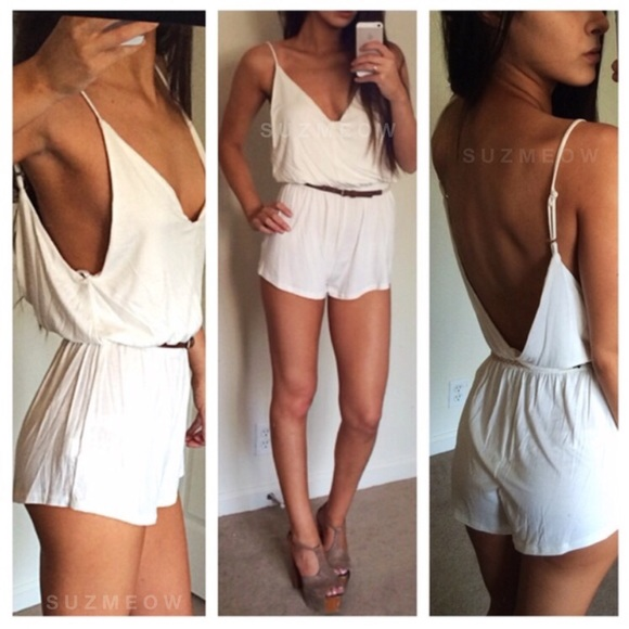 Katana Couture Pants - New! White Backless Romper/ Playsuit • S, L