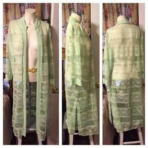 unknown Other - Mint Green Long Lace Cover-up Duster