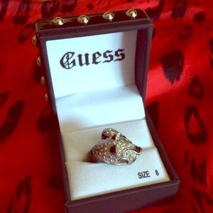 Guess Black Silver Panther Ring