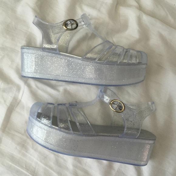 Clear Jelly Sparkle Platform Shoes