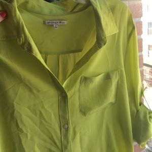 0a9a5e2de3164f Madewell Tops - Madewell chartreuse silk blouse with rolled sleeve