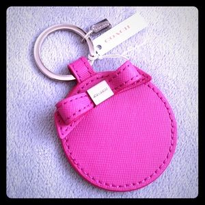 Coach Saffiano Leather Bow Mirror Key Chain Pink