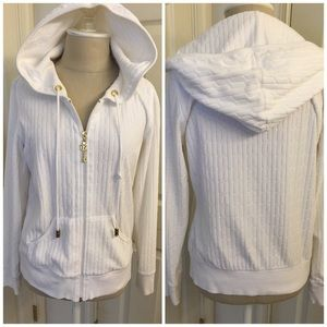 CABi Quilted White Hoody Warm Up Jacket