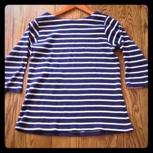 L.L. Bean Blue and White Striped Top
