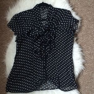 Maurices Black and White Polka Dot Blouse