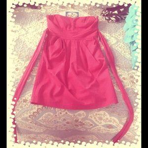 Pink Strapless Evening Dress